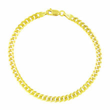 10K Yellow Gold 4MM Womens SOLID Cuban Link Curb Chain Bracelet Lobster Clasp 7