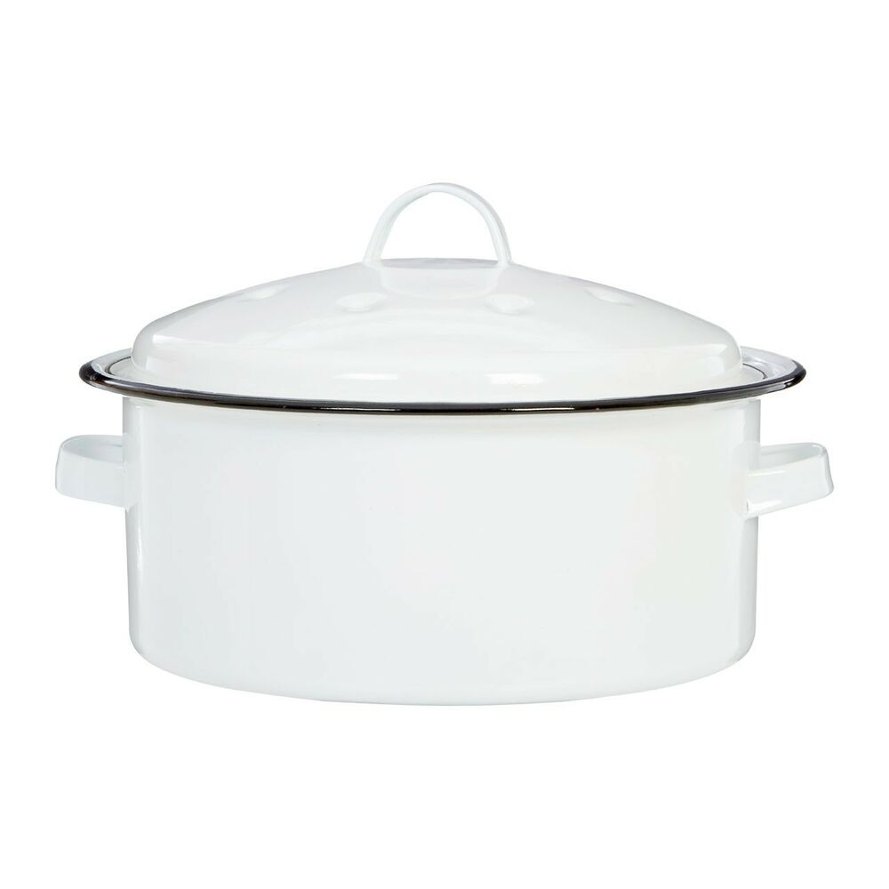 Round Self Basting Roaster White Enamel Carbon Steel With