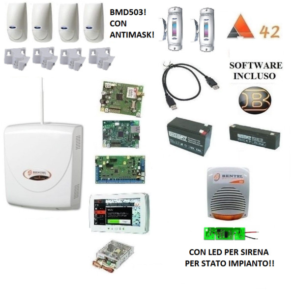 kit absoluta COMPLETO bentel + 4x bmd 503+snodi+ IP + M-TOUCH 7