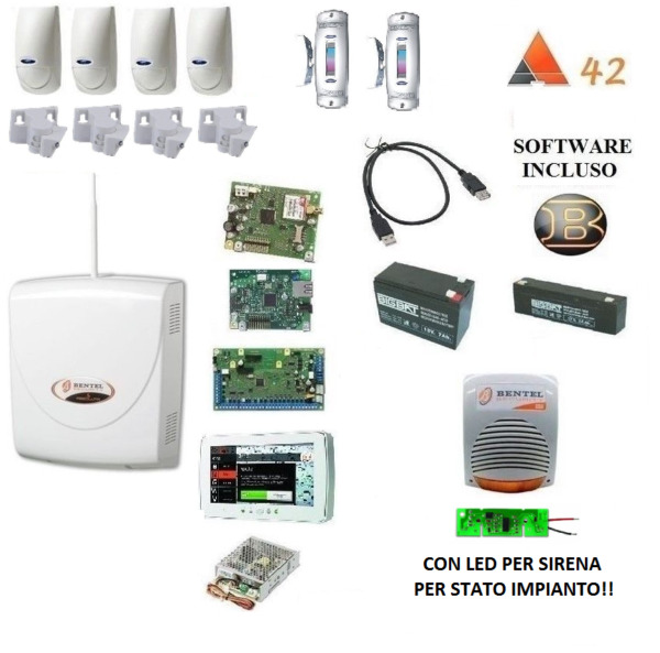 kit absoluta COMPLETO bentel + 4x bmd 504+snodi+ IP + M-TOUCH 7