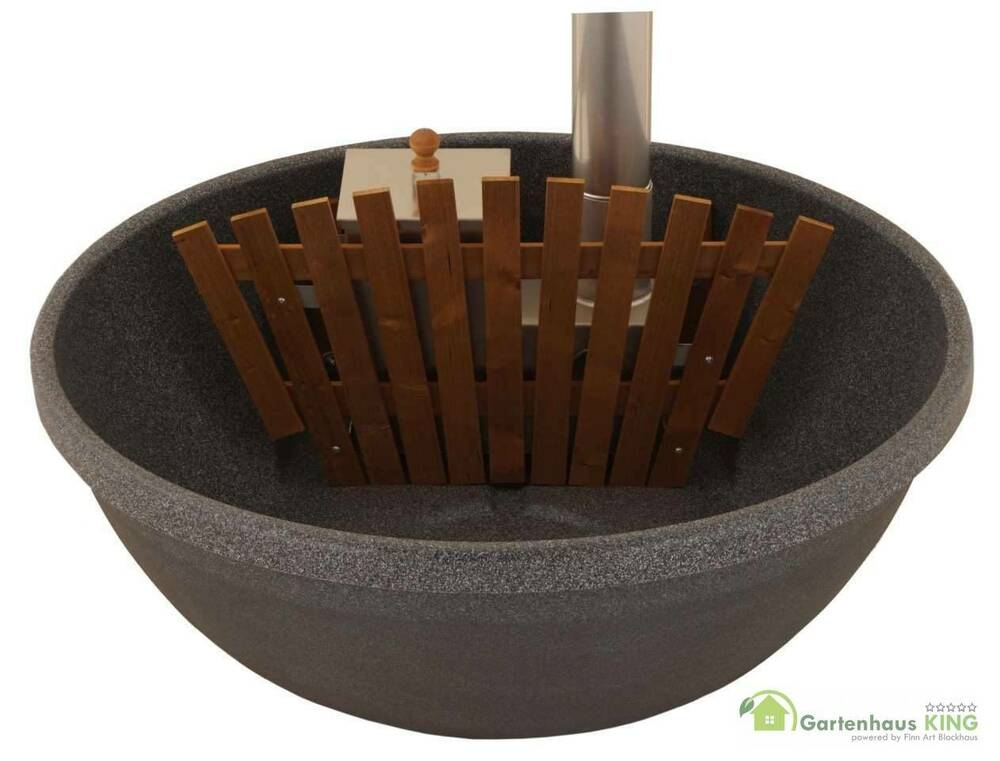 badezuber hot tub badetonne badefass badebottich 160 fun holzofen schwarz granit ebay. Black Bedroom Furniture Sets. Home Design Ideas