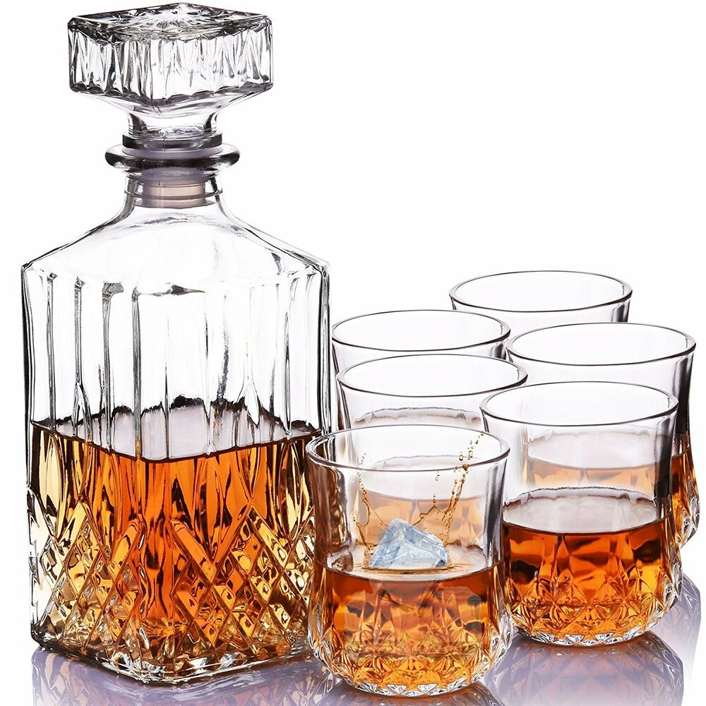 whisky decanter set liqueur wine brandy alcohol square. Black Bedroom Furniture Sets. Home Design Ideas