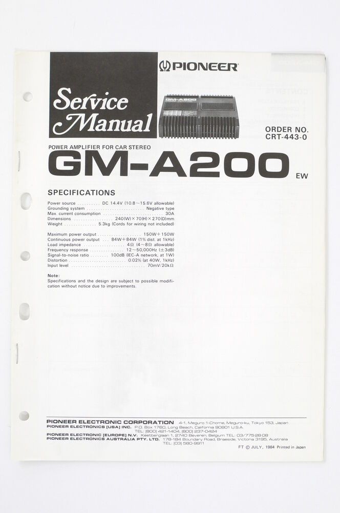 pioneer gm-a200 ew car amplifier service manual/wiring ... 1990s gm radio wiring harness