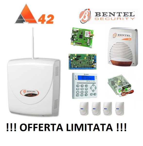BENTEL ABSOLUTA 42 ZONE! ABS-42 + GSM + SIRENA + TASTIERA KIT MEDIO + SENSORI !!