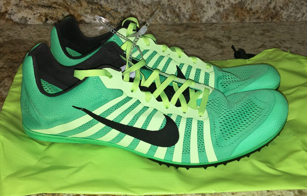 new concept 7e21d 0b227 Details about NIKE Zoom D Electro Green Ghost Green Black Track Distance  Spikes Shoes Mens 12