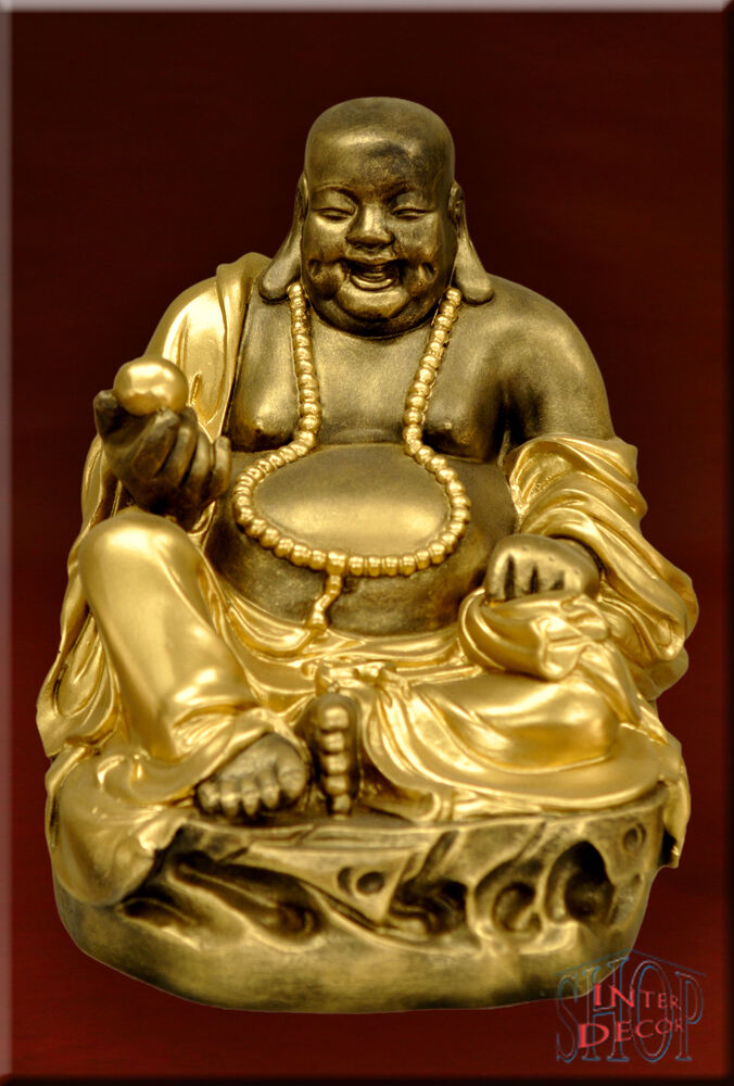 figur gl cksbringer feng shui lachender buddha statue dekofigur kunstharz ebay. Black Bedroom Furniture Sets. Home Design Ideas
