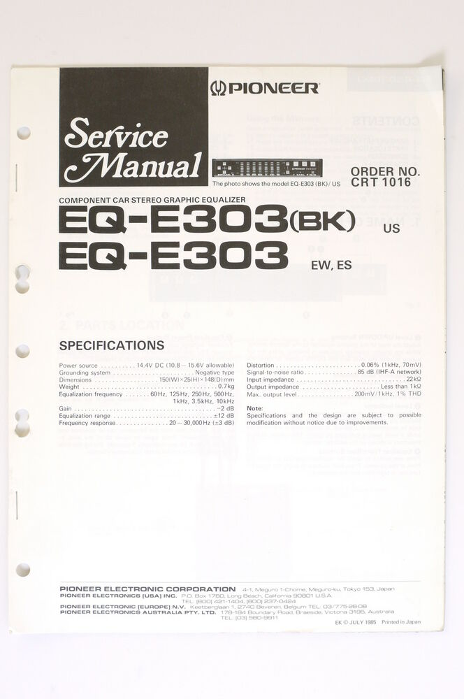 Pioneer EQ-E303(BK) EQ-E303 ORIGINAL SERVICE MANUAL/Guide/ WIRING ...