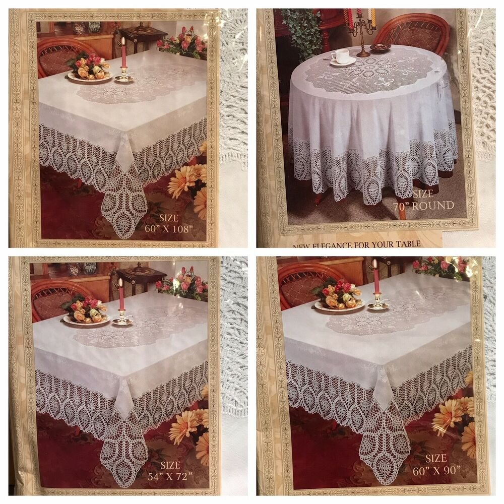 Better Home Crochet Vinyl Lace Tablecloth White Ivory