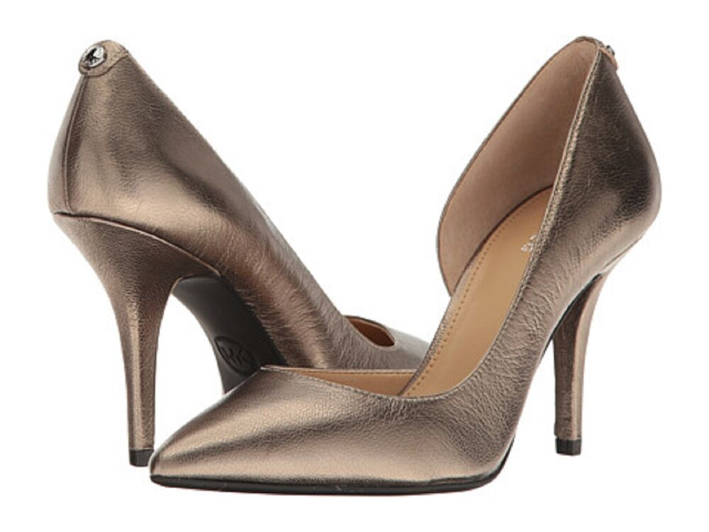 5e8b5be9015 Details about MICHAEL Michael Kors  Nathalie  Flex High Heel Nickel Colored  Leather Sz. 9.5