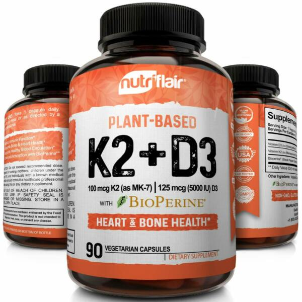 ☀ Vitamin K2 (MK7) with D3 5000 IU Supplement with BioPerine, 90 Veggie Capsules