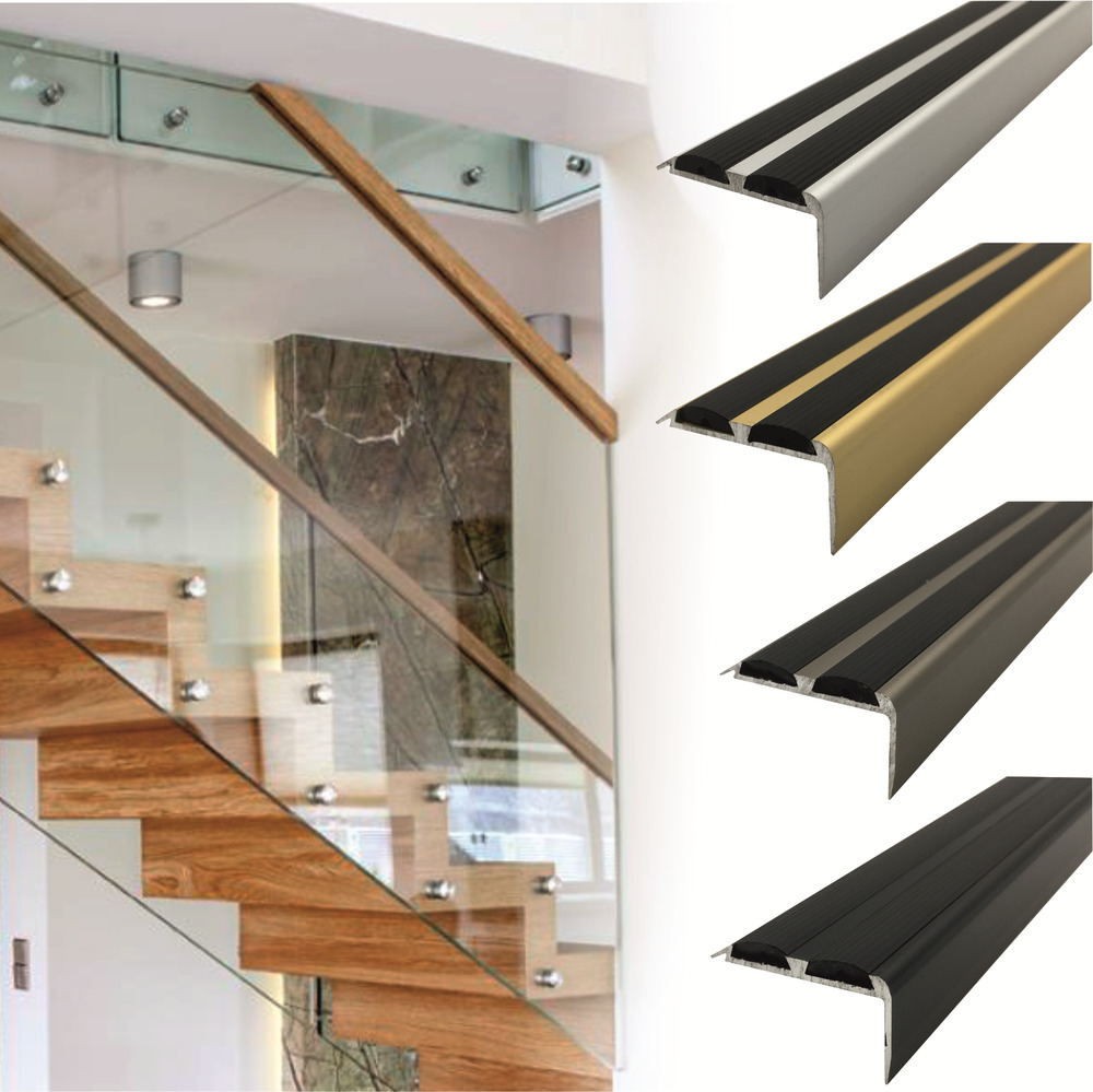 1 8m Aluminium Stair Nosing Edge Trim Step Nose Edging