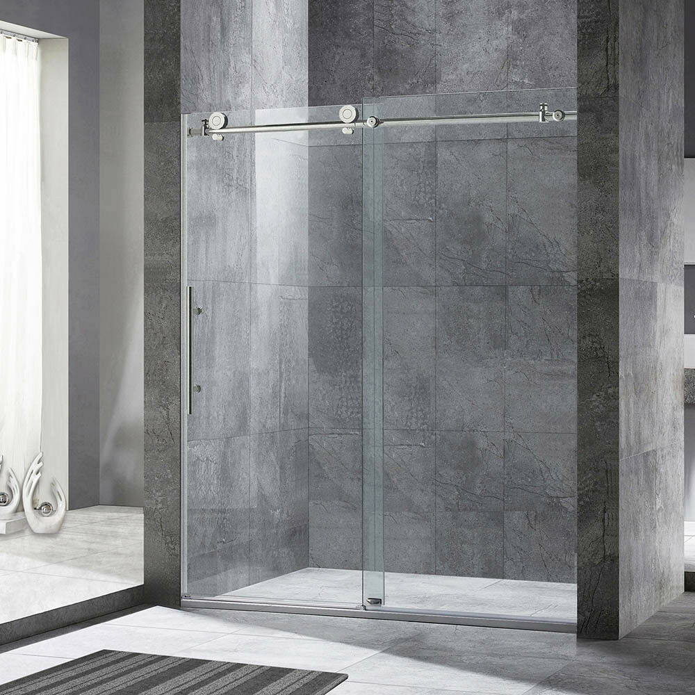 Frameless shower door ebay woodbridge frameless sliding shower door 44 48 width 76 height bn eventshaper