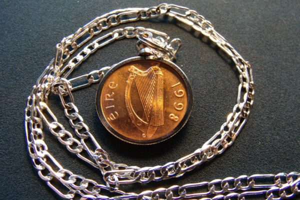 1998 Irish Mint Condition Penny Coin Pendant on 28