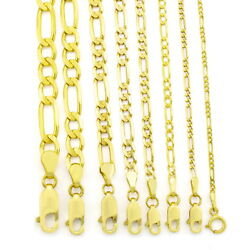 Kyпить 10K Real Yellow Gold 2mm-9mm Figaro Chain Link Pendant Necklace Bracelet 7