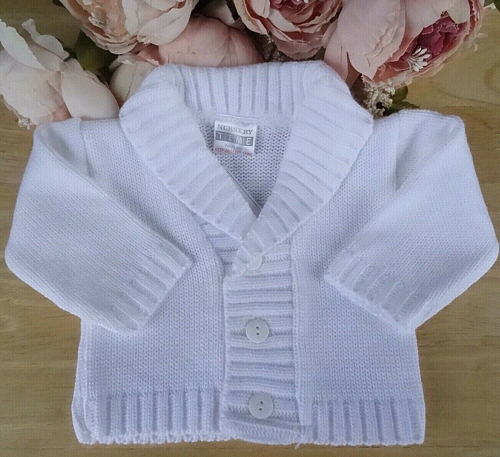 81c0ccca6307 Baby Boys Sky Blue or White Knitted Shawl Collar V-neck Button ...