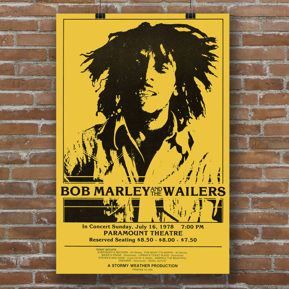 Bob Marley and the Wailers Paramount Theater Concert poster canvas ...