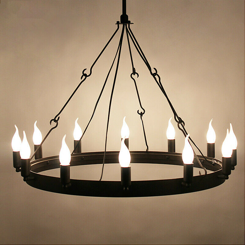 Industrial round candle chandelier 12 light retro rustic porch industrial round candle chandelier 12 light retro rustic porch ceiling fixture aloadofball Images