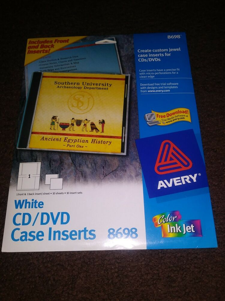 New Avery 8698 Customize Labels White Cddvd Jewel Case Inserts Pack