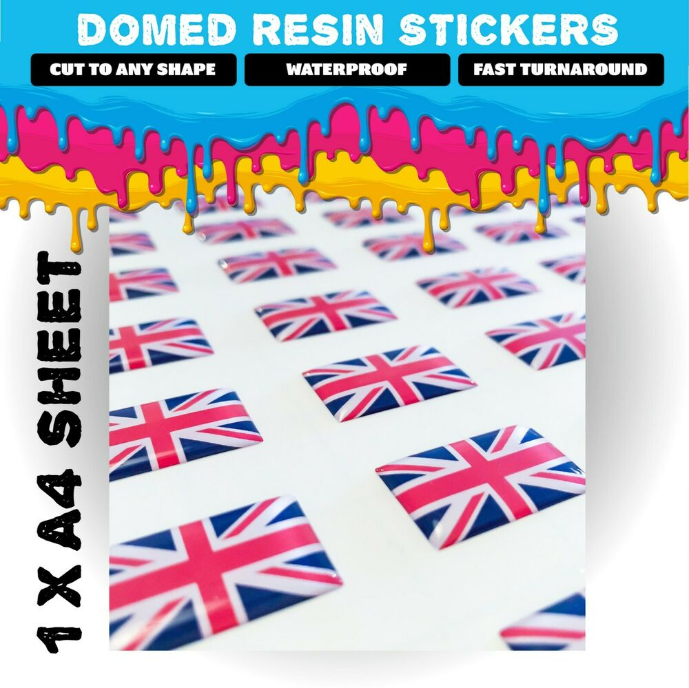 Custom domed resin stickers 1 x a4 sheet business company logo labels ebay