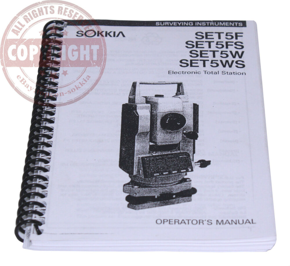 USERS MANUAL FOR SOKKIA SET5 SERIES TOTAL STATION, SURVEYING, OPERATORS |  eBay