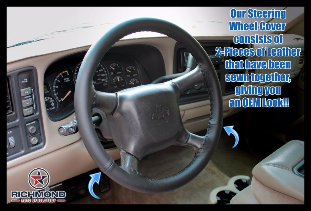 Details About 1999 2002 Chevy Silverado 1500 2500 3500 Leather Steering Wheel Cover Black