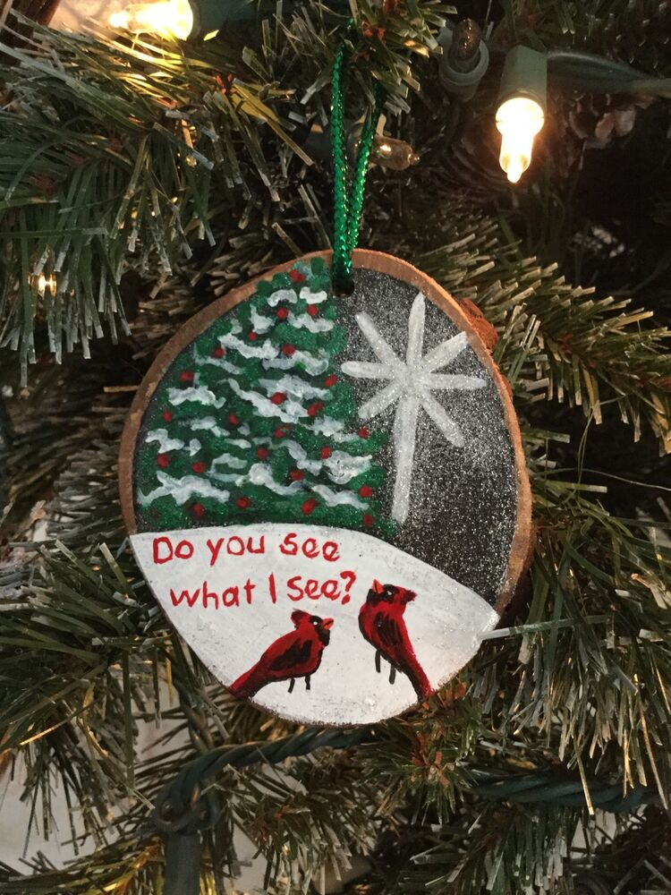 Hand Painted Wood Slice Christmas Ornament Cardinal ...