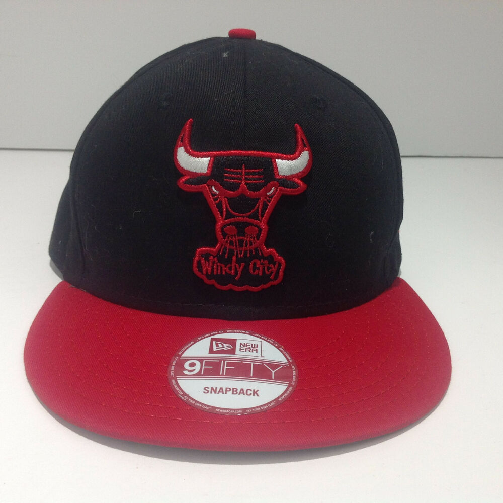 fa175385689 Details about Chicago Bulls New Era 9Fifty Windy City Black With Red Bill Snapback  Hat Cap