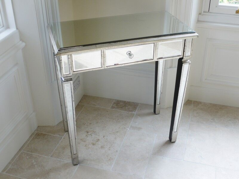 Silver venetian mirrored console table hall