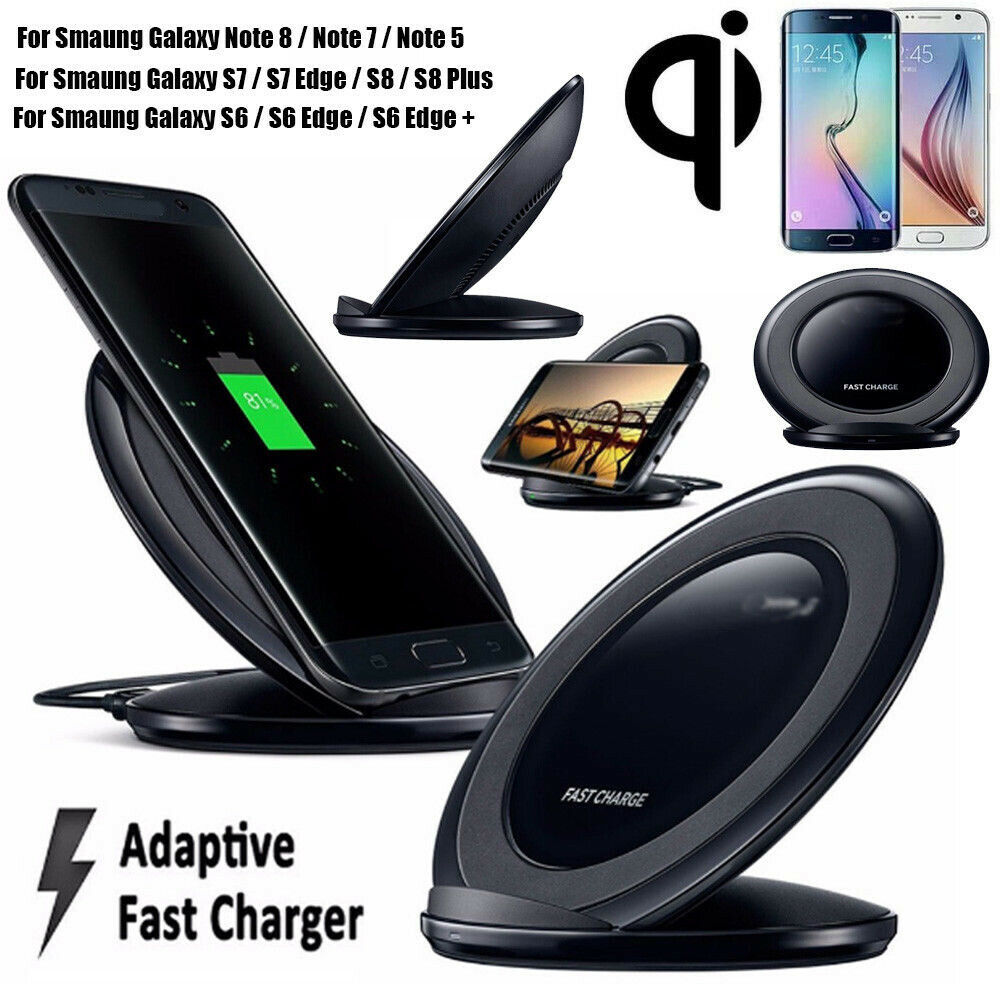 Qi Wireless Fast Charger Rapid Charging Stand Dock Pad For