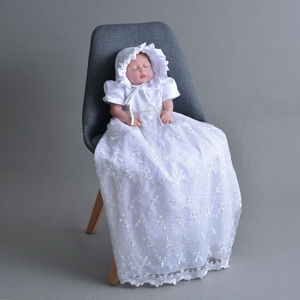 Baby Dressing Gown: Newborn Baby Christening Gown Infant Lace Baptism Dress