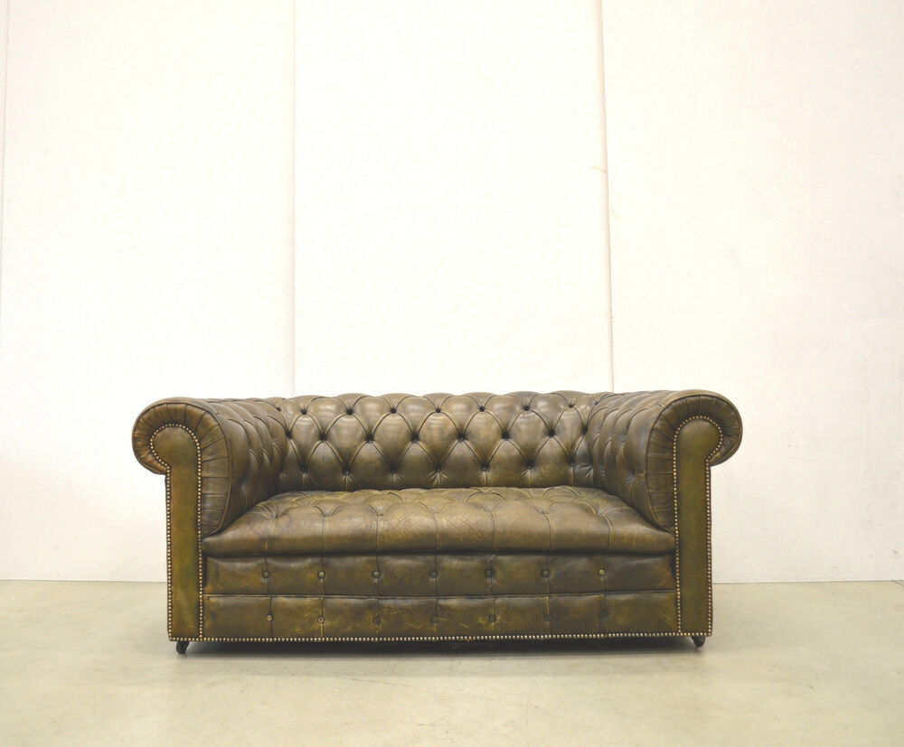 interorig chesterfield vintage 2er sofa leder club england 70er art d co ebay. Black Bedroom Furniture Sets. Home Design Ideas