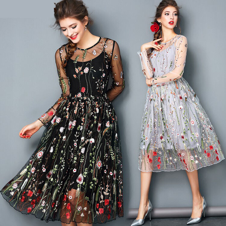 2017 Women Mesh Embroidery Floral Evening Party Wedding Cocktail ...