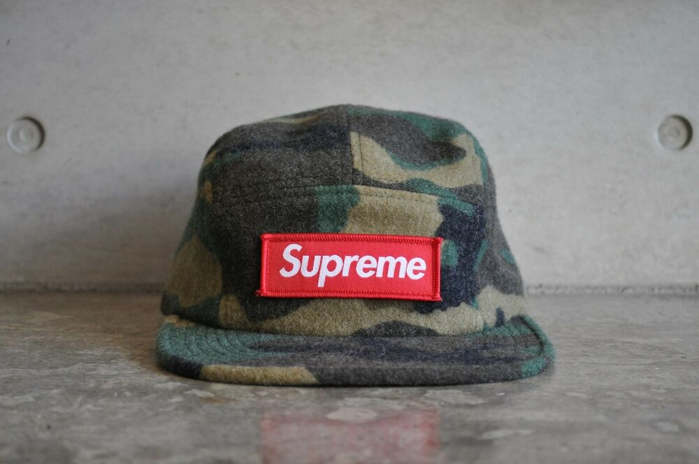 acdab4db604 Details about Supreme Camo Wool Box Logo Camp Cap - Green