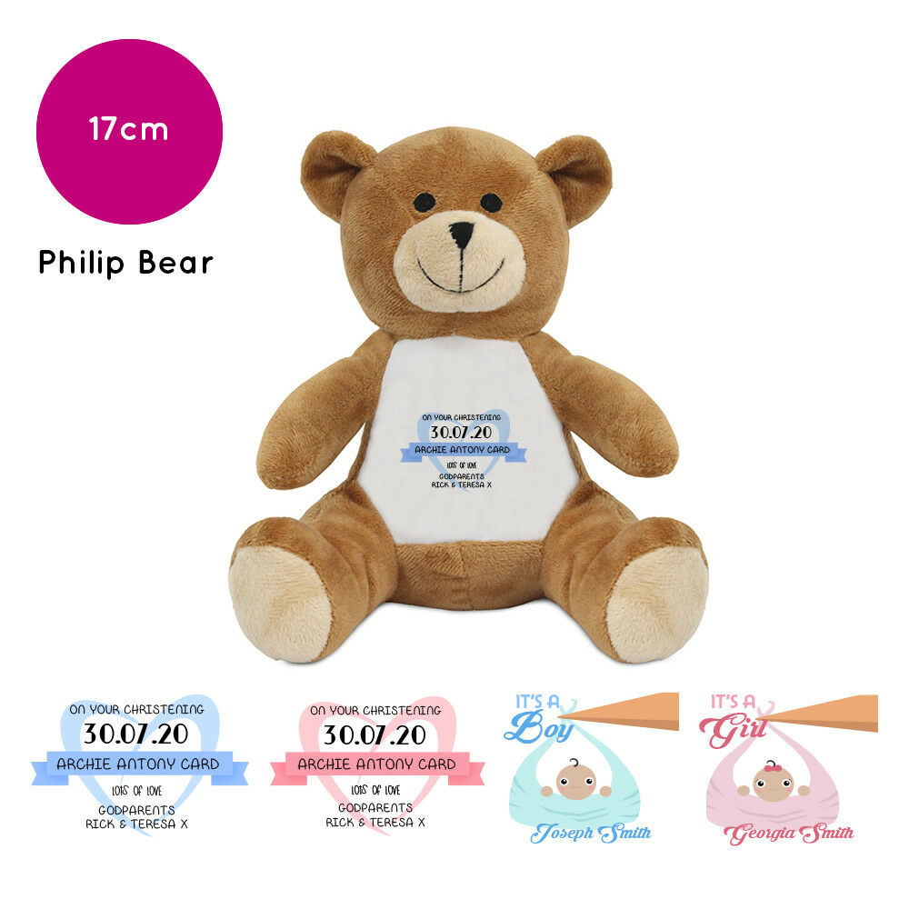 Personalised Name Christening Philip Teddy Bear Soft Toy Gift New