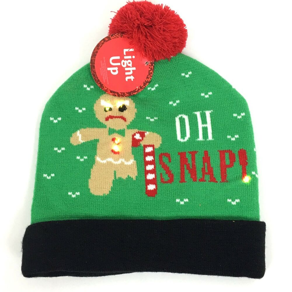 Ugly Christmas Sweater Light Up Beanie Hat Oh Snap Winter NWT ...