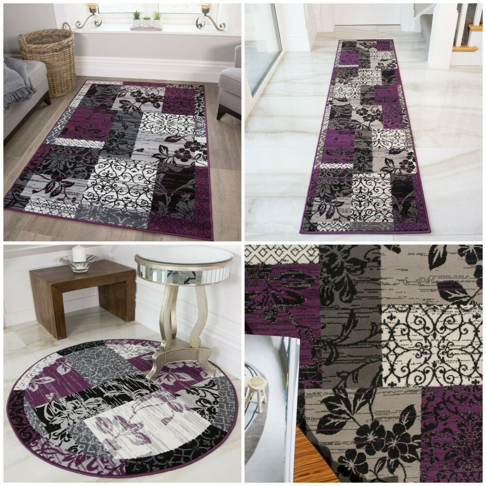 Purple Grey Patchwork Traditional Rug Cheap Circle Floral