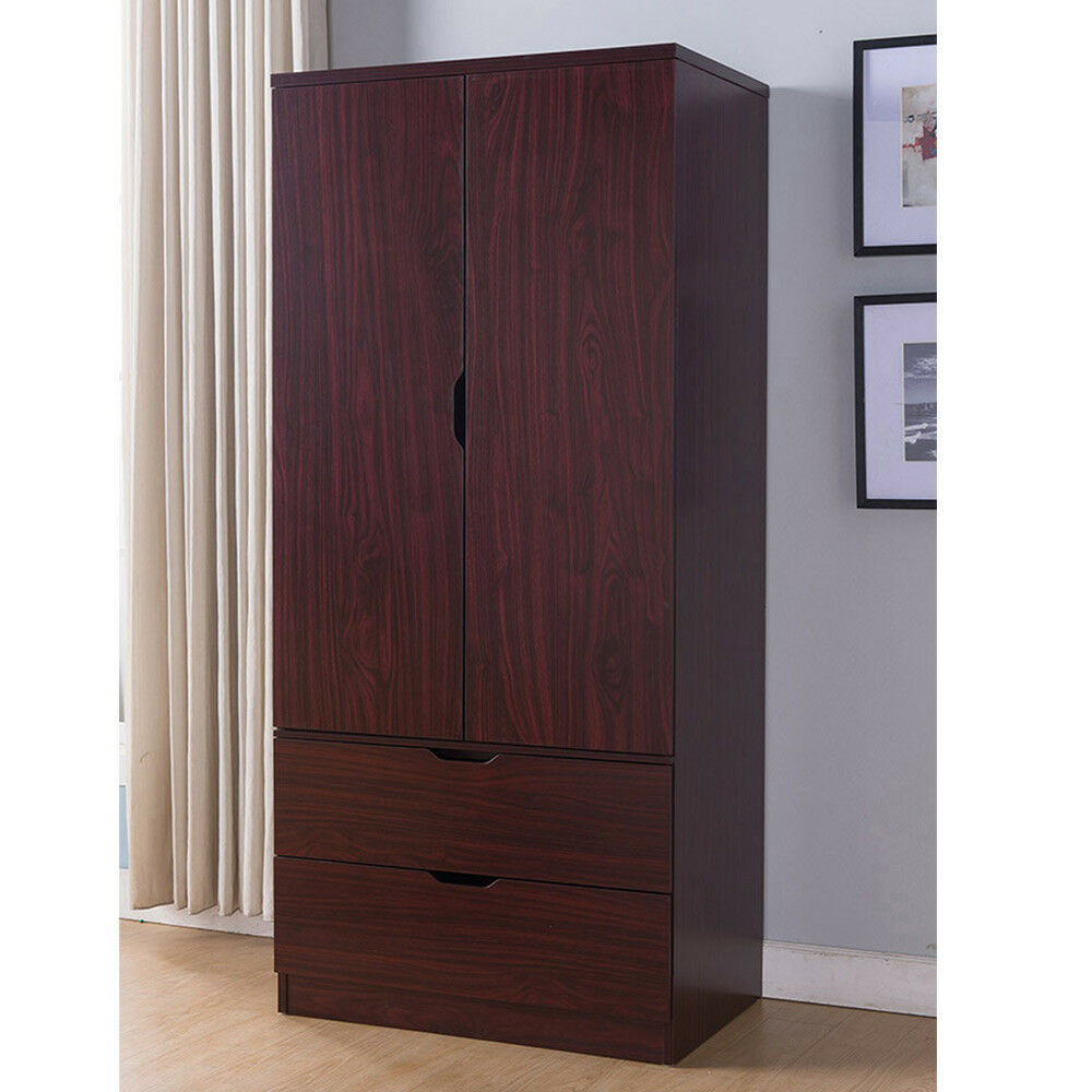 Details About Tall Wardrobe Closet Cabinet Bedroom Clothes Storage Drawer Organizer Mahogany