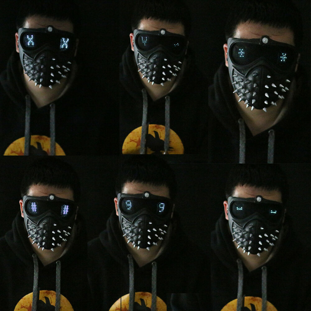 Watch Dogs 2 Mask Marcus Wrench LED Light Rivet Face Mask ...