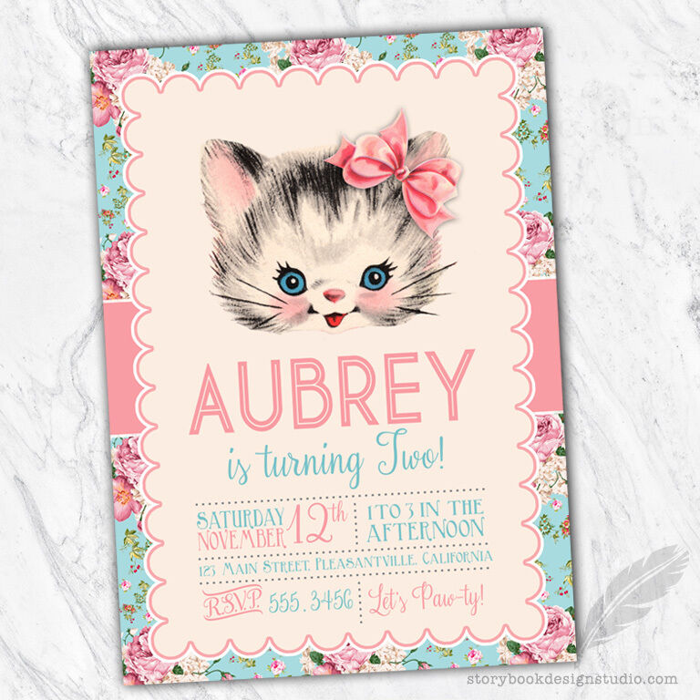 Kitten Birthday Party Invitations Kitty Vintage Floral Baby Shower