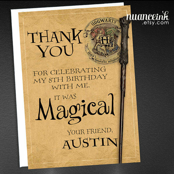Harry Potter Birthday Party Thank You Cards / Wizard Wand PRINTED
