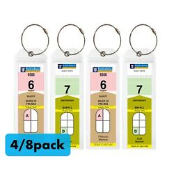 (4/8)Pack NARROW Cruise Tags - Luggage Etag Holder with Zip Seal & Steel Loops
