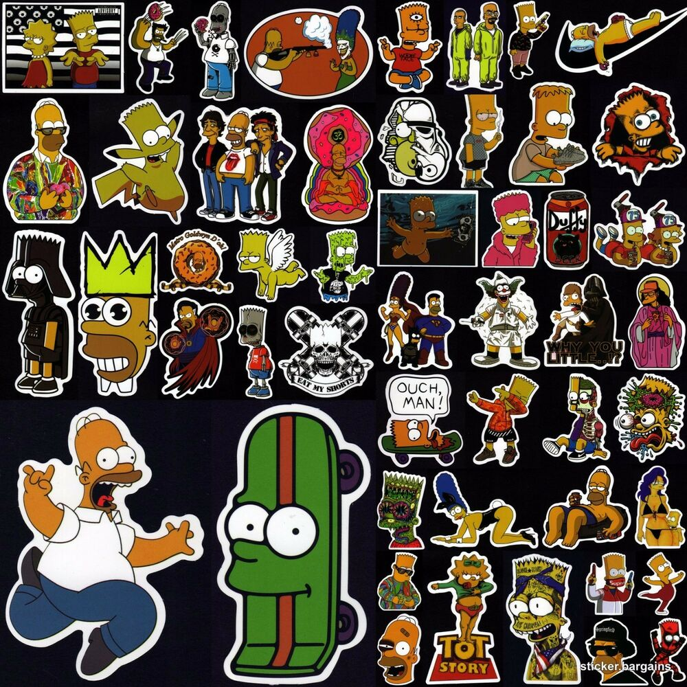 Details about the simpsons stickers 50 cool designs laptop car skateboard motorcycle vinyl