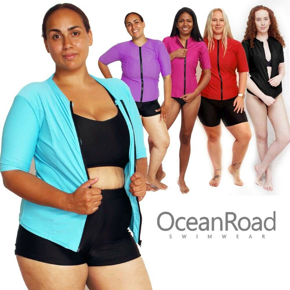 12e1058c3d7 Details about Womens Rash Guard Zip size 8 - 26 Rashie Short Sleeve Vest  Swim Shirt Black Blue