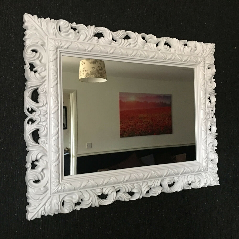 white resin style french ornate mirror large vintage wall dressing table mirror ebay. Black Bedroom Furniture Sets. Home Design Ideas