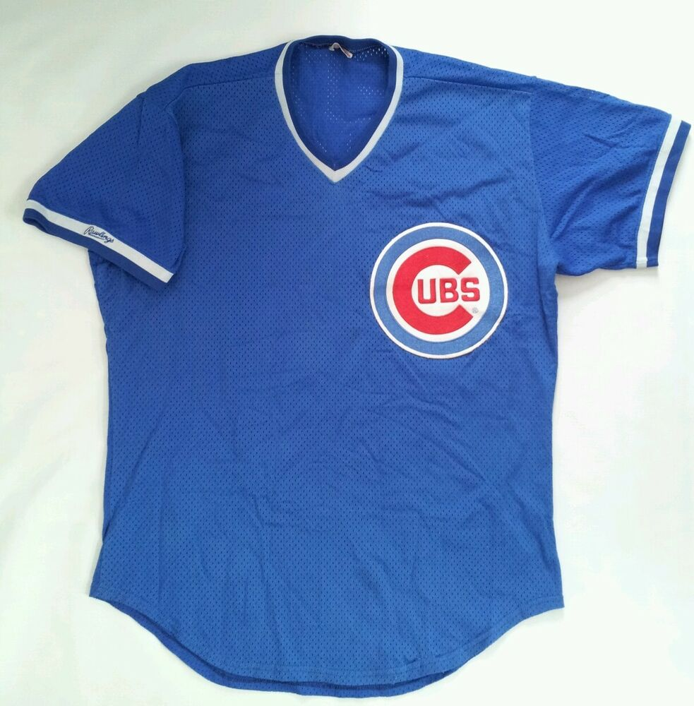 bce6d042c VINTAGE MADE IN USA RAWLINGS CHICAGO CUBS MESH JERSEY IN SIZE 44