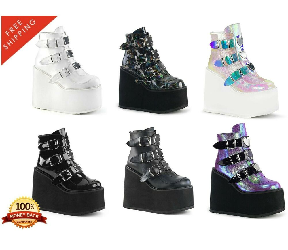 41c03340aac Demonia SWING-105 Women s Wedge Platform Ankle Boot Triple Buckle Straps