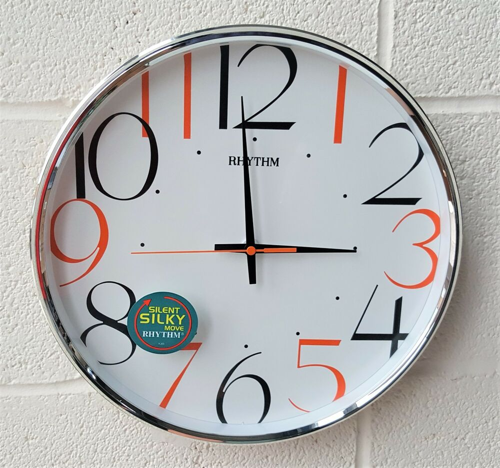 Rhythm Round Wall Clock with Large Coloured Numerals 32cm Silent ...
