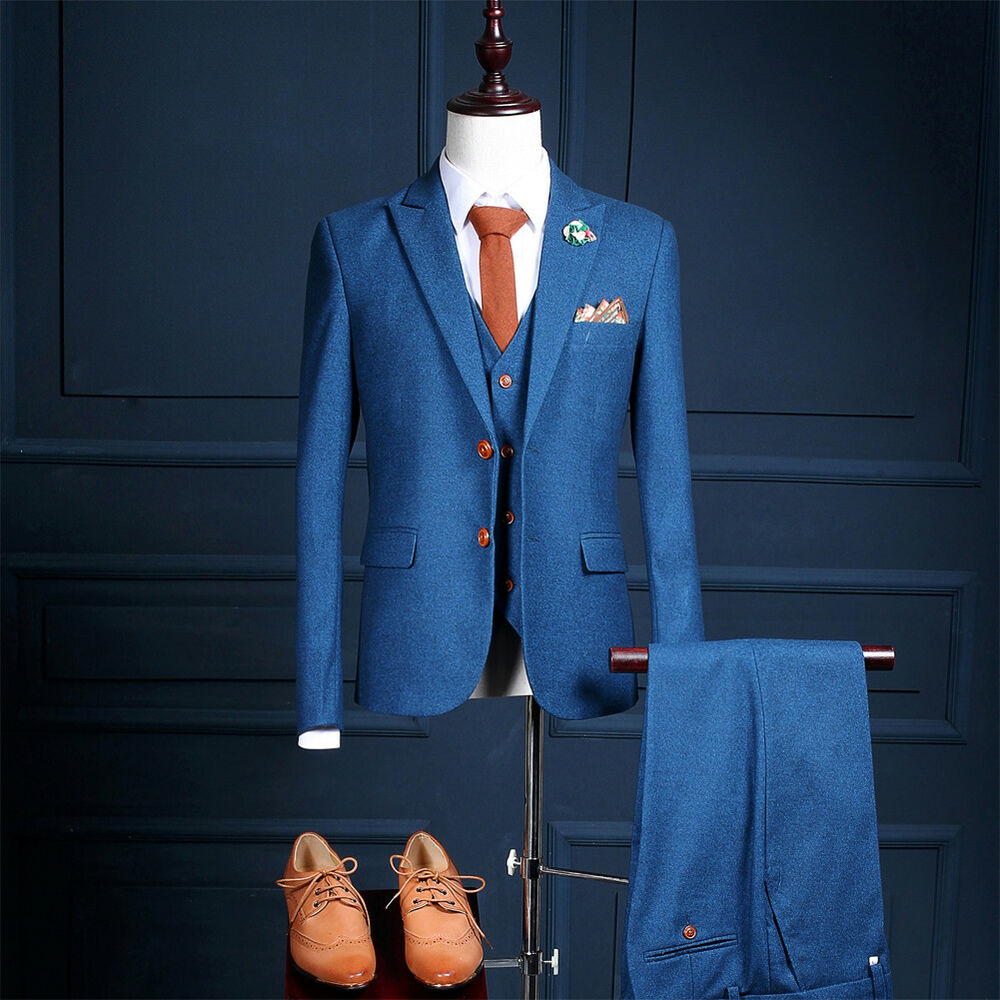 Men\'s Blue Tweed Herringbone Check Tan Tuxedos Groom Vintage Wedding ...