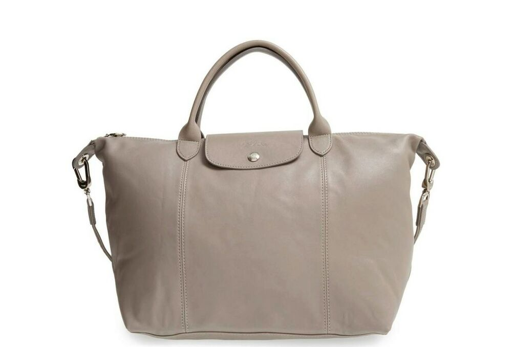 b2da11628ee5 Details about NWT AUTH LONGCHAMP Le Pliage Cuir Med Leather Crossbody  PEBBLE GRAY  565 FRANCE