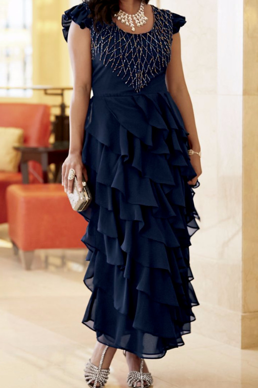 Ashro Formal Mother Of The Bride Engagement Party Gown Dress Navy 6